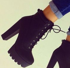Online Shop Chunky Heel Platform Ankle Boots Women Black Leather ...