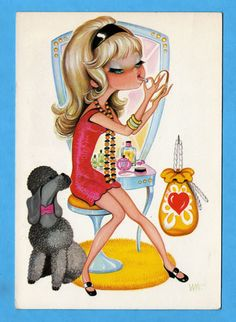 Vintage postcard. Mod girl making herself beautiful to go out.