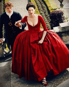 Everything You Want to Know About That Red Dress From 'Outlander,' Season 2 - Us Weekly sat down with 'Outlander' costume designer Terry Dresbach to get all the details on Claire's scandalous, plunging red dress — read more here