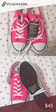 Hot pink converse all stars Hot pink Never worn US Women's 9.5 Low top Perfect condition NWT Converse Shoes Sneakers