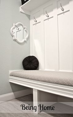 DIY mudroom bench... would be PERFECT with storage boxes underneath!
