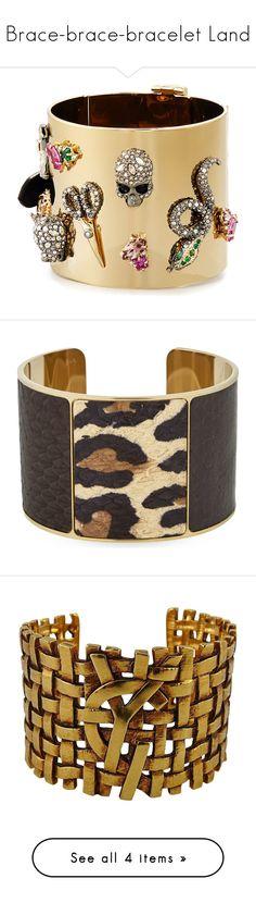 """""""Brace-brace-bracelet Land"""" by deykav1968 on Polyvore featuring jewelry, bracelets, accessories, gold, cuff bangle, bangle cuff bracelet, hinged bangle, hinged cuff bracelet, golden jewelry and cuff jewelry"""