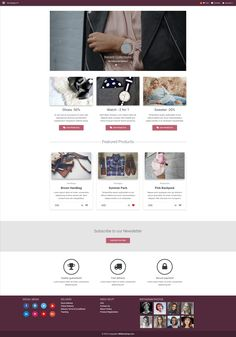E-commerce homepage template created with Material Design for Bootstrap