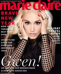 Smoldering: Gwen Stefani covered Marie Claire 's holiday issue in a sheer polka-dotted David Koma dress, accessorizing with Cartier jewelry