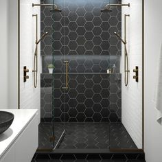 inspiration for hexagon tiles in the bathroom - Eigen Huis en Tuin, Large Tile Bathroom, Black Tile Bathrooms, Bathroom Floor Tiles, Shower Floor, Bathroom Layout, Bathroom Interior Design, Wall Tile, Black Bathroom Floor, Bathroom Ideas
