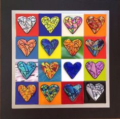 16 Dichroic hearts in multicolor w/ black frame. Handmade by Laguna beach artists. Available now at Pacific Gallery or pacificgallery.net