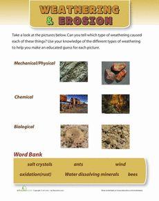 Weathering Pictures Worksheet