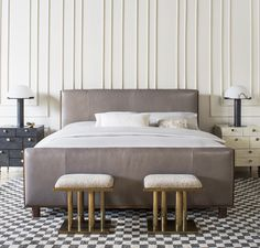 KELLY WEARSTLER | TROUSDALE BED. Richly textured wood with sleek headboard and footboard upholstered in leather