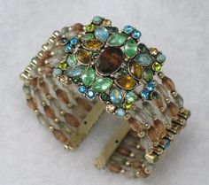 Multi-Color Rhinestone and Beaded Monet Cuff Bracelet. What a statement piece. Gorgeous.