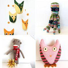 Friends of Socktopus on Ohdeedoh Fabric Dolls, Paper Dolls, Art Dolls, Needle Felted Animals, Needle Felting, Fabric Crafts, Sewing Crafts, Doll Patterns, Bear Patterns