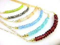 Gemstone Chakra Necklace, 14kt Gold Fill, Choose Stones, Bead Bar Necklace
