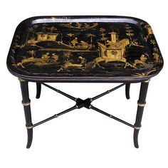 1stdibs | English Chinoiserie Paper Mache Tray On Stand