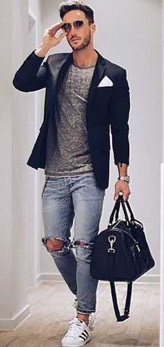 Mens Fashion Edgy – The World of Mens Fashion Komplette Outfits, Casual Outfits, Fashion Outfits, Fashionable Outfits, Fashion Moda, Look Fashion, Fashion Design, Edgy Mens Fashion, Stylish Men