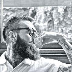 Ricki Hall full thick dark beard and mustache beards bearded man men mens' style sunglasses model fashion tattoos tattooed bearding #beardsforever