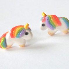 Rainbow Unicorn Earrings Kawaii Unicorns by PitterPatterPolymer