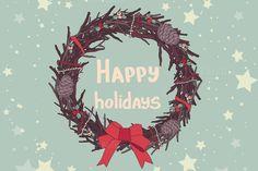 Christmas hand drawn wreaths. by Little A (Aigul) on @creativemarket