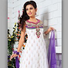 White Net Anarkali Churidar Kameez