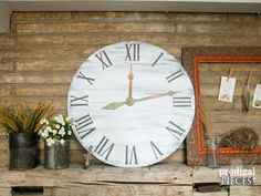 Large Faux Clock Face with Copper Patina Hands  by ProdigalPieces
