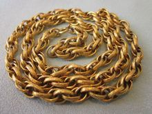 """Gorgeous Gold Filled Vintage Ornate Etched Link 24"""" Heavy Necklace"""