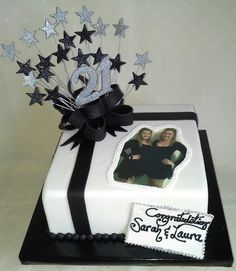 21st black n white #star celebration #cake with edible image photo, stars & 21 + pearls created my MJ www.mjscakes.co.nz