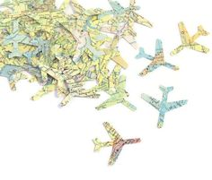 Map Airplane Confetti, Travel Theme wedding decorations, Pilot Retirement Party, Vacation, Upcycled Vintage Atlas Planes, Maps, 100 CT