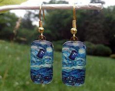 Arzt, die Van Gogh Starry Nacht TARDIS Ohrringe Silber oder Gold