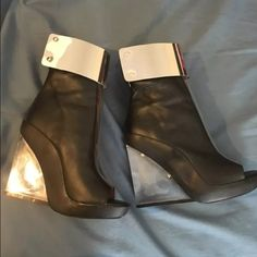 Jeffrey Campbell Roni. Fits size 6.5 PUC. Worn once. No damage to leather and no discoloration of the clear plastic. Jeffrey Campbell Shoes Ankle Boots & Booties