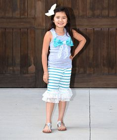 Look what I found on #zulily! Teal & White Tank & Ruffle Short Set - Infant, Toddler & Girls #zulilyfinds