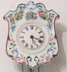 Selské porcelánové hodiny - 19.století - zvonek