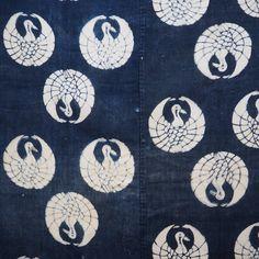 Vintage Japanese Length Of Crane Design Katazome Textile