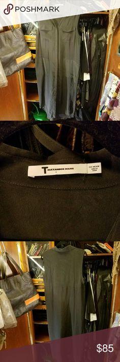 T BY ALEXANDER WANG Shirt dress Never been worn Sheer black Button down Patch pockets Sleeveless  Size medium T by Alexander Wang Dresses Maxi