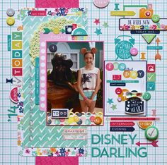 Disney Darling *Echo Park Creative Agenda* - Scrapbook.com - You don't have to use Disney-themed papers or even colors for your Disney layouts!