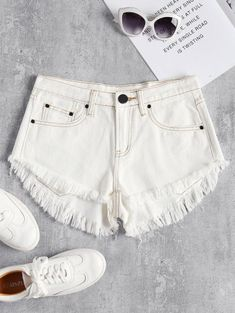 Mini Frayed Hem Denim Shorts