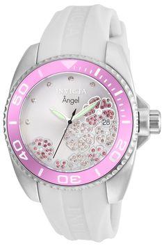 19fa263e42a Invicta 23486 Women s White Silicone Strap Quartz Angel Crystal Silver Dial  Date Watch
