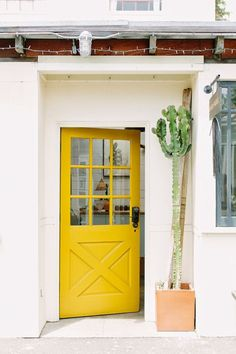 Just follow the yellow wood door...