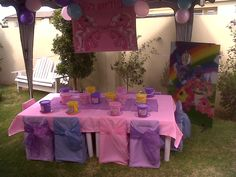 Neat table & chair covering for birthday party