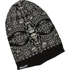 "Loungefly: Skull Knit Beanie in ""Black/Cream"" / ""Keep your head warm on a chilly day with this slouchy skull knit beanie...made from soft acrylic knit fabric and features a stylish two-tone pattern with an intricate skull and crossbones bandana pattern and a loose, slouchy shape that gives it a laidback look. This hat has a solid rib knit trim band around the bottom detailed with a small Loungefly logo patch for brand identification and a neutral color combination..."""