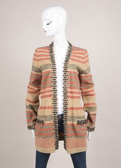 Tan, Red, and Black Striped Bead Embellishment Long Cardigan