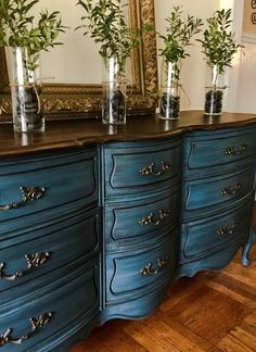 Vintage French Provincial dresser/buffet hand painted in Annie Sloan Aubusson Blue with a Graphite wash. Clear & black wax applied. The top was stripped and refinished in Java Gel Stain and dark wax to seal. 9 dovetail drawers with original hardware. Measures: 64.5w x 19d x 32h. Pick up only in Drexel Hill Pa. located just outside of Philadelphia. #Darkwax
