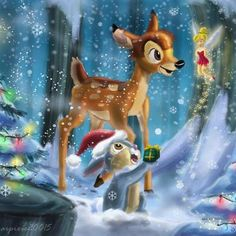 Christmas Bambi, Thumper, and Tinker Bell Bambi Disney, Tinkerbell Disney, Disney Fan Art, Cute Disney, Disney Cartoons, Disney Films, Disney Pixar, Disney Characters, Christmas Scenes