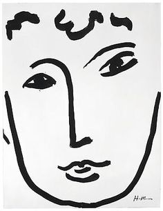 """Henri Matisse -  """"Full Face,"""" 1952 -  Brush and ink on paper -  25 5/8 x 19 5/8 inches"""