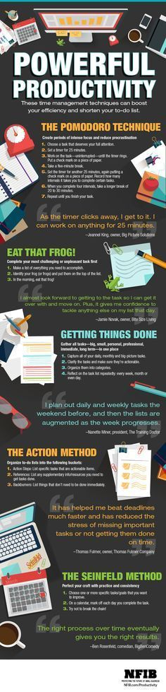 """5 Ways to Be More Productive - 1) Pomodoro 2) Eat that frog. Hardest things first. 3) Getting Things Done... """""""