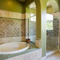 Mixing tile patterns adds personality to the bathroom -- and we love this serene chartreuse shade.