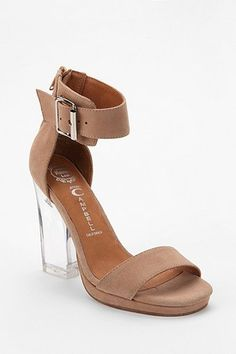 4f223e0d290 Jeffrey Campbell Soiree Suede Clear Heeled Sandal Nude High Heels