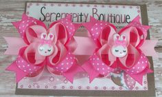 Easter Hair Bows - Light pink Hot pink and White Polka Dots Easter Bunny Girls Mini Boutique Hair Bow - Set of Two