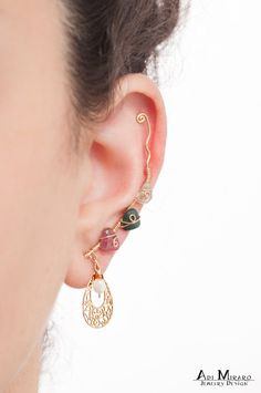 Boho Rainbow Dream Catcher Ear Cuff Earrings Set Dreamcatcher Ear Cuff Bohemian Earrings Rainbow Gem Earrings Draping Chain Ear Cuff