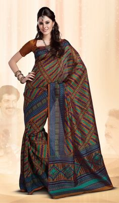 Multicolor Designer Indian Art Silk Saree with Nice Border