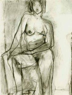 Richard Diebenkorn, Standing Nude, 1966 charcoal on paper