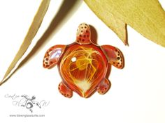 Solar Energy Turtle - Glass Turtle Necklace by Creative Flow Glass.