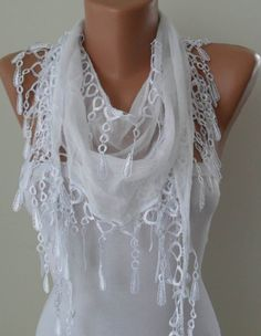 White Scarf with White Trim Edge - Spring Summer Trend. $12.90, via Etsy.